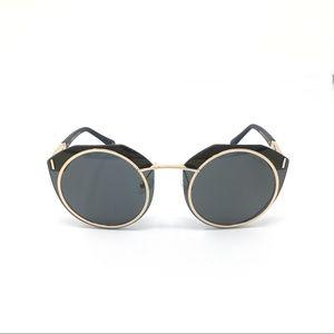 balmain gold-tone & black round sunglasses